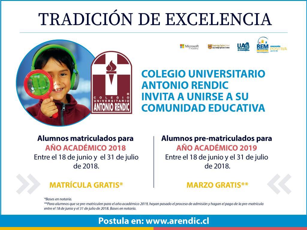 COLEGIO UNIVERSITARIO ANTONIO RENDIC LES INVITA A UNIRSE A SU COMUNIDAD EDUCATIVA